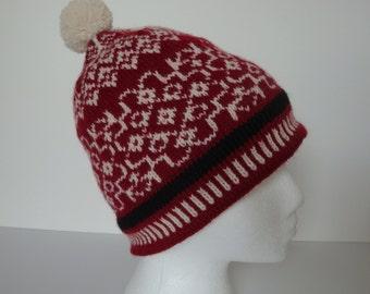 Fair Isle Pom Pom Hat - Warm Winter Cap - Norwegian Snowflake - Scandinavian - Warm