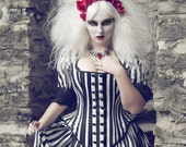 Tim Burton Wedding Gown - Black White Stripe Victorian Steampunk Dress - Night Circus- Custom to Order