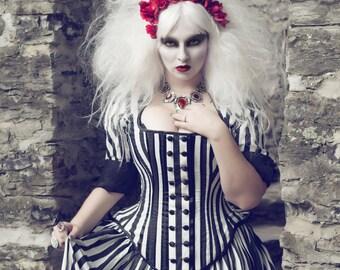 Tim Burton Wedding Gown - Black White Stripe Victorian Steampunk Dress - Night Circus- Custom to Order