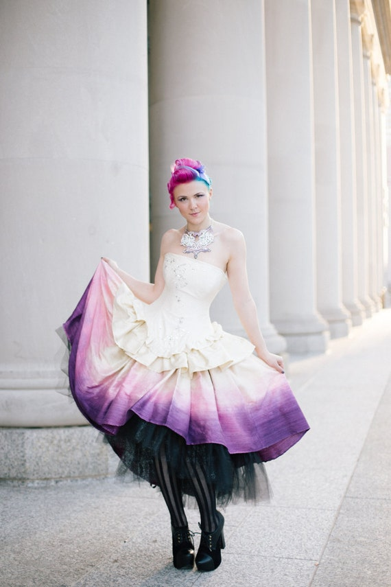 Ombre Wedding Dress Steampunk Fairytale Gown Moon Fairy