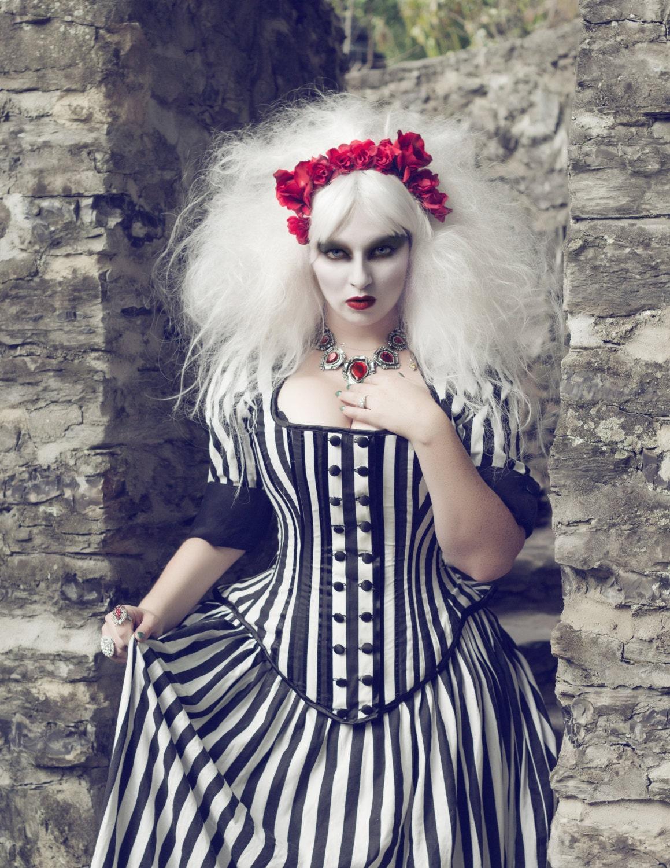 Tim Burton Wedding Gown Black White Stripe Victorian