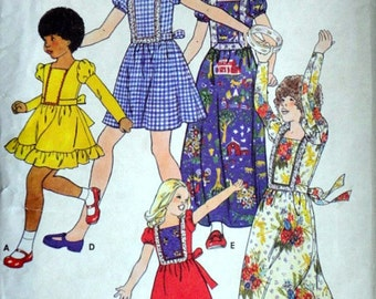Butterick 4518 Vintage 70's Sewing Pattern, Girls' Dress In Two Lengths, Size 10, 28 1/2 Breast, Boho