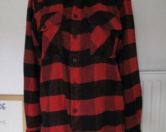 Vintage 90s Red & Black Check Plaid Indie Grunge Flannel Shirt - M