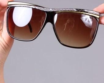 Vintage 80s Glam Oversize Gold & Reptile Trim Sunglasses Shades