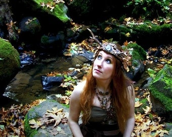 Enchanted Wood Fairy Faerie Antler Crown Magic Wand Fine Art Photography Autumn Goddess Pagan Greeting Card FOREST FAE by Spinning Castle