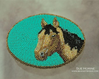 Belt buckle, beaded, Horse, Bead Embroidered, seed beads, blue, brown, equestrian