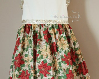 Handmade Dresses – Lucy Dress in Holiday Poinsettia By The Kisses Co.
