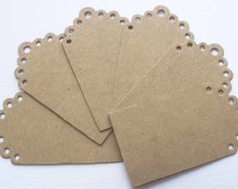 Elisse Small Eyelet Scallop Tags  - Chipboard Die Cuts - Bare Gift Tag Embellishments