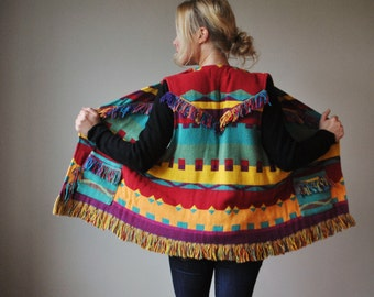 1990s Colorful Southwestern Fringe Vest~One size fits all