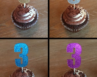 12 Third Birthday Cupcake Toppers Three Cupcake Toppers Donut Toppers Party Picks Three Year Old Cupcake Toppers