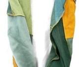 Hemp/Tencel and Hemp/Organic Cotton Infinity Scarf in Shades of Green and Honey Yellow Hemp Handmade