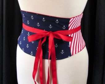 Nautical Corset Belt Navy and Red Anchors and Stripes Any Size B