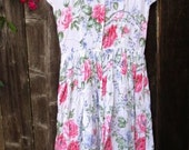 RESERVED FOR PATRICIA Vintage Floral Rayon Dress Shabby Roses Cottage Chic Cowgirl Grunge Bohemian Sundress Alternative Wedding Beach Bride