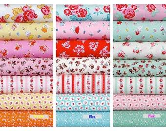Penny Rose Fabrics Riley Blake quilting cotton Milk, Sugar & Flower by Elea Lutz - Choose Fat quarter bundle of 7 in Cream, Blue or Pink