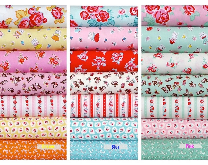 Penny Rose Fabrics Riley Blake quilting cotton Milk, Sugar & Flower by Elea Lutz - Choose Fat quarter bundle of 7 in Cream, Blue or Pink