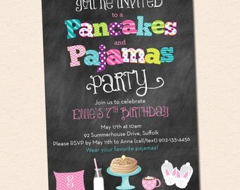 Pancakes and Pajamas Party Invitation - Chalkboard Style with Milk, Pancakes and Bunny Slippers