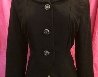 50s Ladies Black Wool Suit Jacket  as is