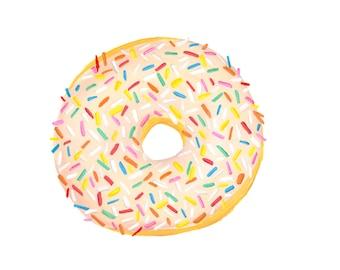 Glazed with Sprinkles Donut Watercolor Illustration Print