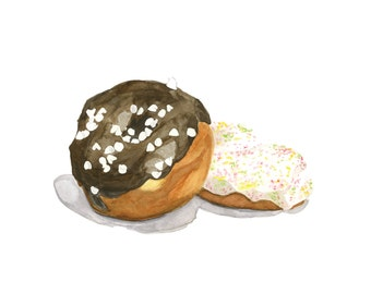Chocolate Ganache and a Sprinkled Donut Original Watercolor Painting