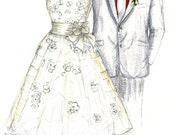 Wedding Dress Sketch - One Year Anniversary Gift - Paper Anniversary Gift - 1 Year Anniversary Gift - First Year Anniversary Gift