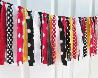 Mickey Mouse Rag Tie Banner High Chair Birthday Banner