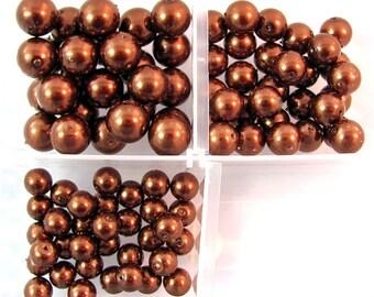 Round Bronze Glass Pearls 3 Graduated Sizes