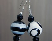 SALE! Large Hand-painted Wooden Bead Earrings - White - Black - Sterling Silver Hooks  -  Bright - Colourful - Fun - Varnished