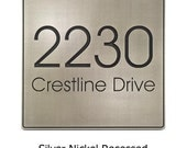 """Modern Advantage Address Plaque, Modern Address Numbers Made in USA 13"""" square"""