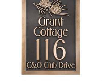 Pine Cone Address Sign Conifer Plaque Custom 10.5x15 inches