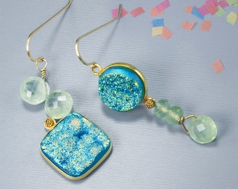 Beaded earrings. Unmatched earring. Druzy jewelry with aqua and pale green gemstones - Seafoam Blue