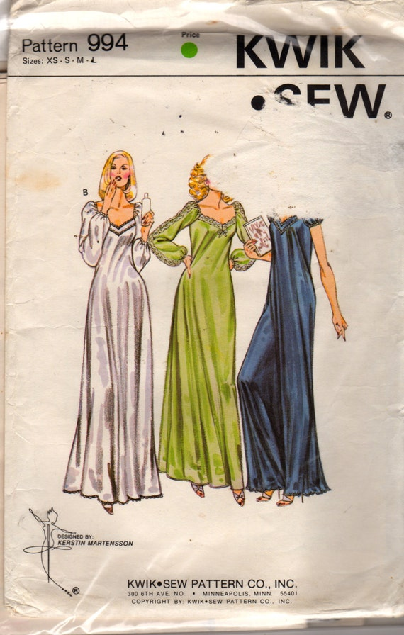 Kwik Sew 994 1970s Misses Evening Length Nightgown Pattern Raglan Sleeve Womens Sewing Pattern Size xs s m l Bust 31 - 41 UNCUT