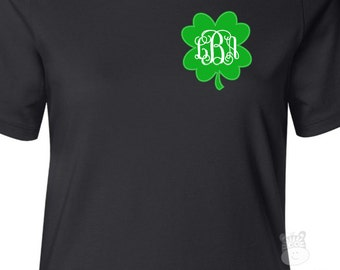 St. Patrick's Day shirt traditional monogram womens personalized DARK Tshirt - great shirt for St. Patrick's Day festivities