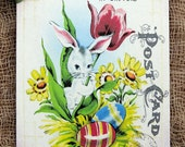 Retro Bunny Eggs Spring Tulip Easter Postcard Gift or Scrapbook Tags or Magnet #164