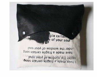 e.e. cummings Clutch Bag, Poetry Text , Black Leather Clutch , Fashion Accessories / Women's Purse and Handbags