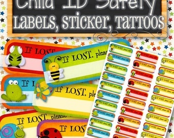 Child Safety ID Labels/Stickers/Tattoos - INSTANT DOWNLOAD