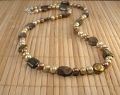 Chocolate Pearl Necklace Chunky Pearl Necklace Freshwater Pearls Big Pearls Brown Gemstone Necklace Long Pearl Necklace Caramel Gold Sand