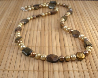 Chocolate Pearl Necklace Chunky Pearl Necklace Freshwater Pearls Big Pearls Brown Coin Pearl Necklace Long Pearl Necklace Caramel Gold Sand