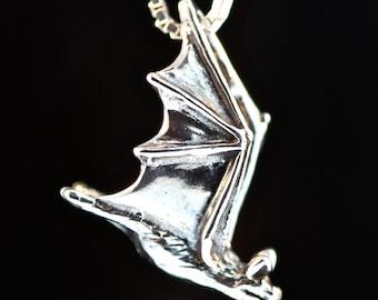 Bat Necklace Silver - Soaring Bat Charm Bat Pendant Pendant - Halloween Necklace Halloween Jewelry - Bat Jewelry Silver Bat