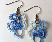 Hand Tatted Verigated Blue and White Dainty Earrings