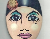 Art Deco PAPER DOLL HEAD - Vintage colorful make up - 2 different Lipstick color -on wood stick - Collector piece - Good Condition
