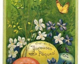 1907 - EGGS, FLOWERS, BUTTERFLIES- Embossed Easter greetings, green, red, yellow,white print Postcard - French written - very good condition