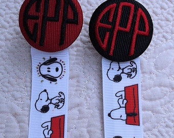 Boutique Custom  Monogrammed Personalized Snoopy Pacifier Clip Leash