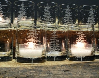 12 'Fir Tree and Floating Flakes' Candle Holders Hand Engraved Winter Wedding Party Favors