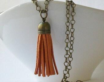 Tassel Rusty Orange Faux Leather Brass Tassel Necklace, Custom Length