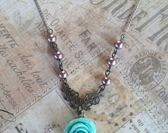Mint Rose Drop Necklace with Purple Pearls