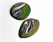 Polymer Clay Handmade Cabochon - Green Black White Blue Multicolor -  Marble Effect - Set 2 pieces