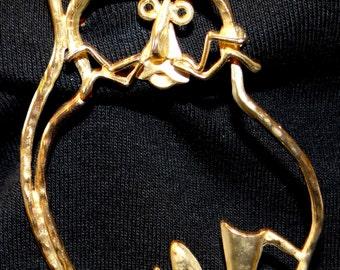 Gold -tone Cat kitty pin Brooch
