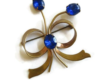 Vintage ART DECO Sapphire Blue Oval Rhinestone Flower & Bow Brooch or Pin