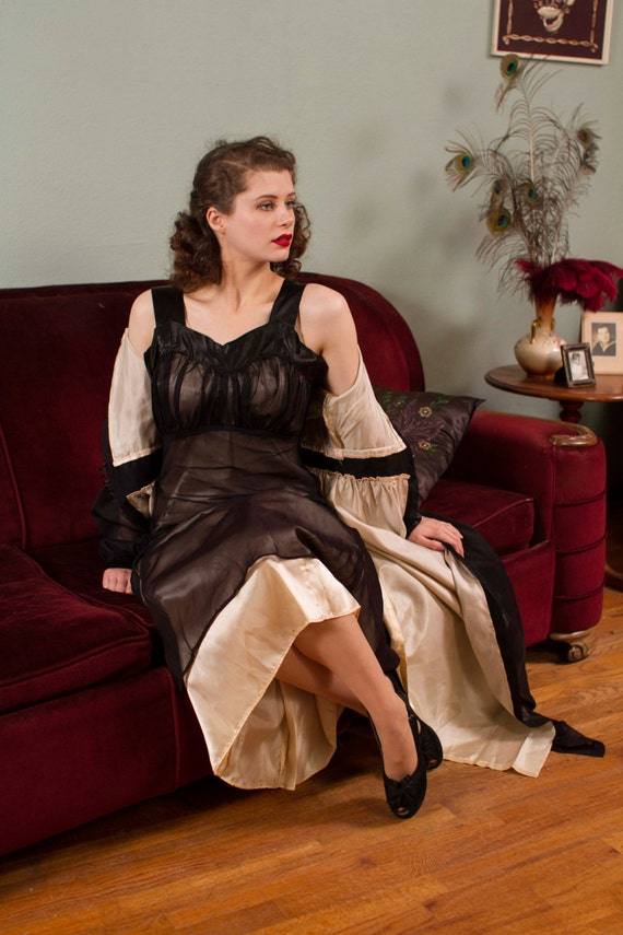 1940S Vintage Peignoir Old Hollywood Nude Illusion Nightgown-1811