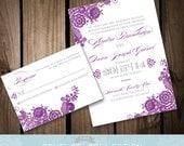 VINTAGE LACE - Invitation Set - Vintage Romantic Lovely Customizable Color Printable DIY Wedding Invitation Digital File